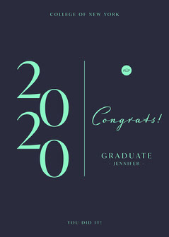 Navy Blue and Cyan Congrats Graduate Card College