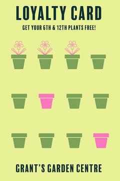 Green & Pink Plant Loyalty Card Garden