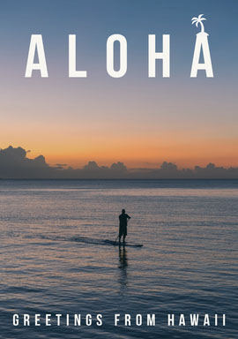 Sunset Colors Sea Aloha Hawaii Postcard Vykort