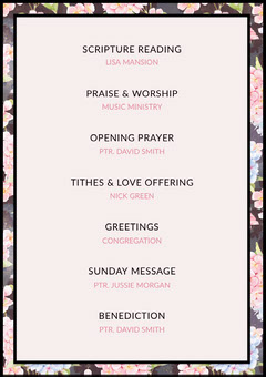 Pink Floral Sunday Church Program Flyer Christianity