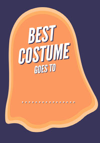 Orange and Navy Ghost Halloween Party Best Costume Card Festa di Halloween