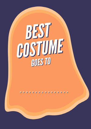 Orange and Navy Ghost Halloween Party Best Costume Card Halloween Party