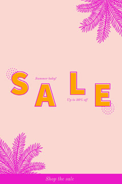 Pink Summer Sale Pinterest Ad with Palms Deal