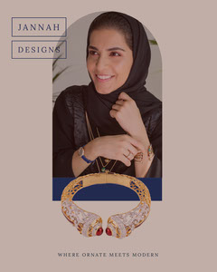 Beige With Portrait Of Woman Design Social Post Jewelry