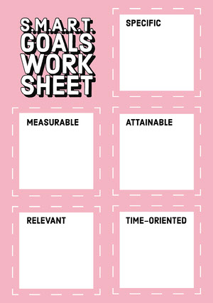 Light Blue and Pink Squares SMART Goals Sheet A4  Worksheet