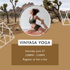 Warm Color Desert-Themed Geometric Fitness Class Announcement Wellness