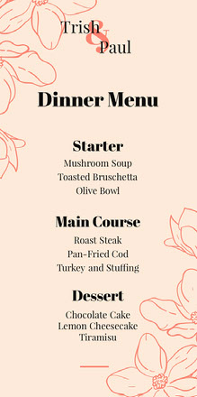 Orange Floral Wedding Menu 웨딩 메뉴판