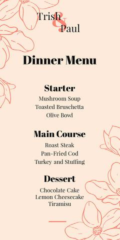 floral red wedding menu  Dinner Menu