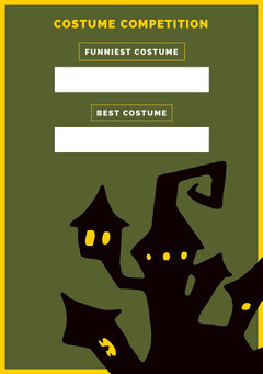 Green Haunted House Halloween Party Costume Card Halloween Costume Contest