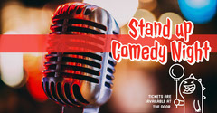 Red, Warm Toned Stand Up Night Ad Facebook Banner Comedy