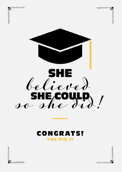Black and Yellow Congrats You Did It Graduation Card College