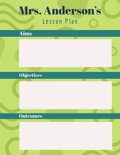 Green and Teal Pattern School Lesson Plan Teal