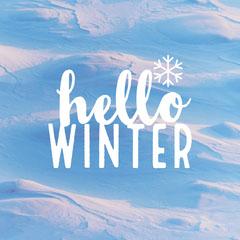White and Blue Snow Hello Winter Instagram Square Hello