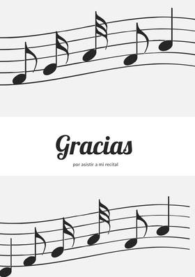 music recital thank you cards  Tarjeta de agradecimiento