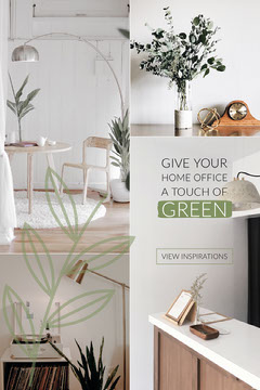 Green and White Interior Design Pinterest Graphic with Collage Interior Design