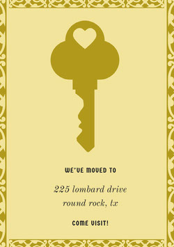 Yellow and Gold Housewarming Party Invitation Card with Key Housewarming Invitation
