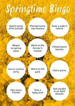 Yellow Floral Springtime Bingo A4 Spring