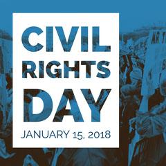 Blue, Black and White Civil Rights Day Speaker Instagram Graphic Speaker