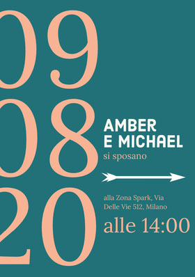 teal and orange wedding invitations  Partecipazione