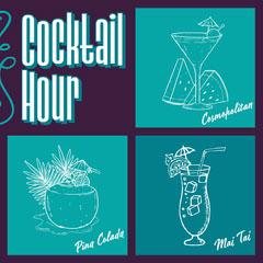Teal & Purple Cocktails Illustrations Instagram Square Drink