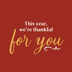 Red and Gold Thankful For You Holiday Card Thanksgiving