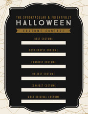 Black, White and Gold, Dark, Scary, Halloween Party Costume Contest Card Festa di Halloween