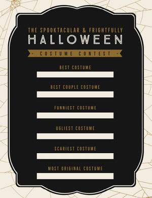 Black, White and Gold, Dark, Scary, Halloween Party Costume Contest Card Halloween Party