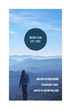 Blue and Mountain View Hiking Club Flyer Nature