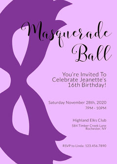 purple minimal Masquerade Invitation Masquerade Invitation