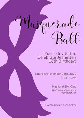 purple minimal Masquerade Invitation Invito al compleanno