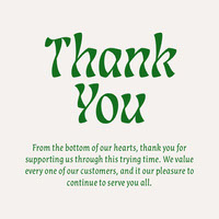 Green Typography Thank You to Customers Instagram Portrait Thank You Messages