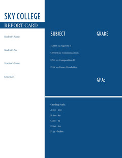 Blue and White Empty Report Card Homeschool Report Card