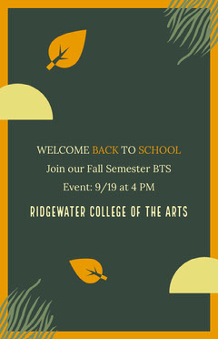 Green and Orange Welcome Back Poster College