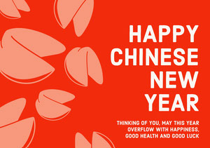 Red and Pink Happy Chinese New Year Card  Chinese New Year
