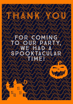 Halloween Haunted Party Thank You Card Halloween Party Thank you Card