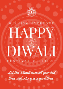 White and Orange Happy Diwali Card Tarjetas