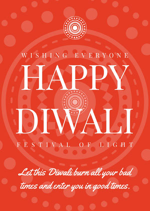 White and Orange Happy Diwali Card Diwali