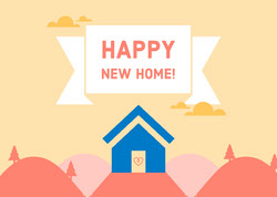 Illustrated New Home Congratulations Card Housewarming Invitation