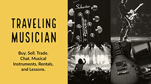 Black, White and Yellow Collage Traveling Musician Facebook Banner Music Banner