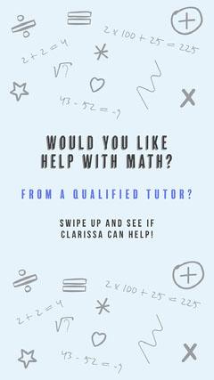 Blue and Black Math Tutor Instagram Story Tutor Flyer