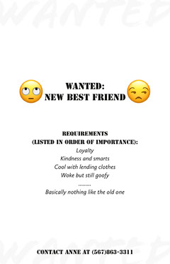 Black and White New Best Friend Wanted Flyer Friends