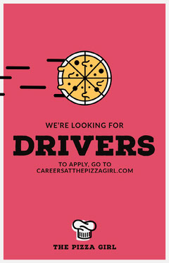 Orange Driver Pizza Joint Open Position Job Poster Pizza