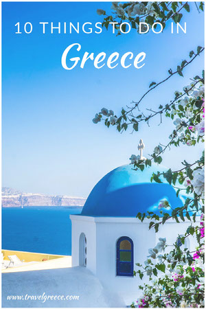 Greece travel Pinterest ad Church Flyer