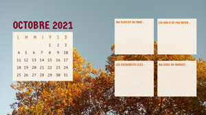 Orange Trees October 2021 Widescreen Desktop Calendar  Calendrier
