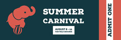 Black White and Red Summer Carnival Ticket Carnival