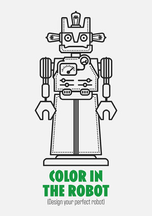 Robot Coloring Worksheet plantillas de páginas para colorear