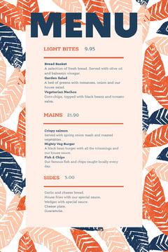 orange navy leaves menu portrait Black And White