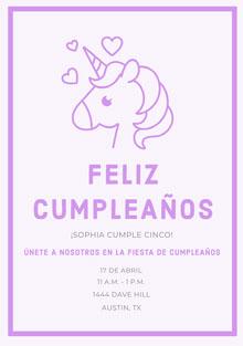 hearts unicorn birthday cards  Tarjeta de cumpleaños