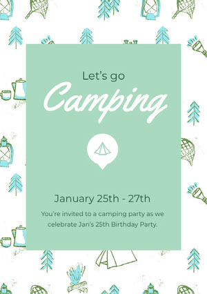 White and Green Camping Invitation Party Invitation