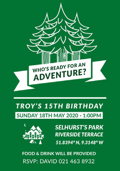 Green Trees Outdoor Birthday Party Invitation Card Christmas Party